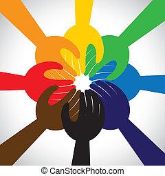 fogalom, emberek, csapatmunka, eskü, ígér, csoport, -, is, karika, egység, kézbesít, szolidaritás, őt előad, elzálogosít, grafikus, ez, bevétel, elkötelezés, vektor, icon., barátság, vagy