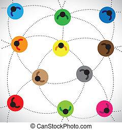 fogalom, emberek, illustration:, háló, alapozott, hálózat, &, tartalmaz, más, online, s a többi, hálózat, színes, befog, összekapcsolt, munka, előad, grafikus, ez, ikonok, community., közösség, mindegyik