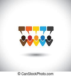 fogalom, emberek, közösség, kommunikáció, kölcsönhatás, csevegés, háló, networking, &, média, -, comments, is, vector., online, beszélgetések, internet, őt előad, grafikus, ez, ikonok, beszélgetés, társadalmi, vagy