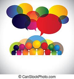 fogalom, emberek, különböző, tagok, faji, bot, vezetőség, &, média, -, is, bizottság, vector., fehér, látszik, hálózat, színes, társaság, dolgozók, tanácskozás, gallér, multi-, grafikus, társadalmi, igazgatók