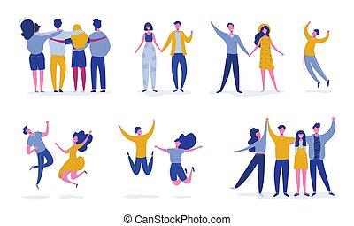 fogalom, emberek, táncol, modern, állhatatos, női, fél, tizenéves, fiatal, characters., betűk, barát, boldog, ábra, ugrás, students., sport, vektor, befog, elegáns, hím, barátság