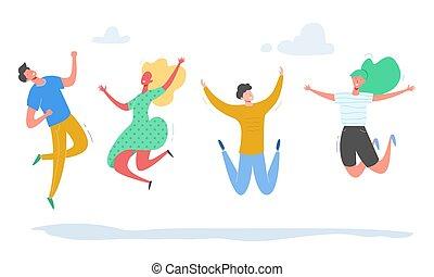 fogalom, emberek, táncol, modern, állhatatos, női, fél, tizenéves, fiatal, háttér., betűk, fehér, boldog, ábra, ugrás, students., sport, vektor, befog, elegáns, hím, barátság