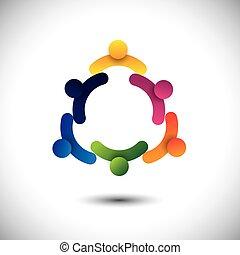 fogalom, emberek, találkozó, együtt., gyerekek, &, munkás, is, közösség, karika, játék, grafikus, alakzat, egymásra hatók, őt előad, iskola ugrat, dolgozók, birtoklás, vektor, móka, vagy