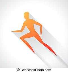 fogalom, embléma, bélyegez, elvont, ábra, stilizált, futás, atlétika, sport, hirdetés, man.