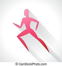 fogalom, embléma, woman., bélyegez, elvont, ábra, stilizált, futás, hirdetés, sport, atlétika