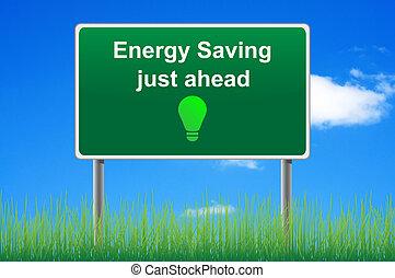 fogalom, energia, ég, megmentés, aláír, háttér., út