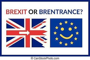 fogalom, eps10, egyszerű, hát, britain, gb, mosolygós, europian, brexit, egyesítés, cancell, wants, lakás, brexit., lobogó, brentrance, kételkedik, nagy, eu., illustration., nyílvesszö, kilépő, egyenetlen, vektor, alázatosan, vagy