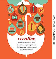 fogalom, esernyő, -, gondolat, kreatív, tervezés