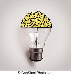 fogalom, fény, gondolat, kéz, agyonüt, húzott, gumó, kreatív