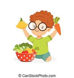 fogalom, fiú, kevés, gyerekek, színes, ülés, élelmiszer, növényi, emelet, ábra, egészséges, vektor, tál, játék, boldog