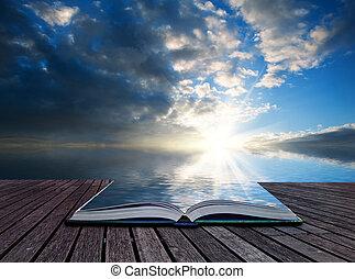 fogalom, gáncsolt, kreatív, nyomasztó, könyv, naplemente óceán, apródok, táj
