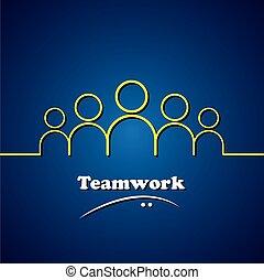 fogalom, grafikus, &, befog, csapatmunka, vektor, vezetés, vezető