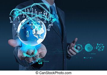 fogalom, hálózat, dolgozó, előadás, modern, számítógép, üzletember, új, szerkezet, társadalmi