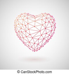 fogalom, heart., orvosi, polygonal, healthcare., technológia, 3