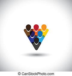 fogalom, hivatal emberek, közösség, becsületesség, hálózat, &, -, média, is, egység, vector., internet, színes, kiállítás, online, dolgozók, őt előad, grafikus, bot, ez, s a többi, közösség, társadalmi