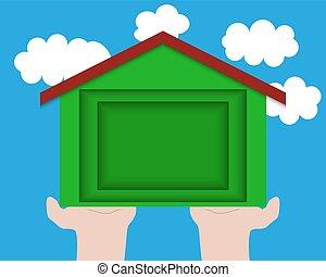 fogalom, horgonykapák, épület, ég, elhomályosul, ellen, idea., ökológiai, ökológia, dolgozat, faragás, construction.