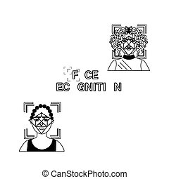 fogalom icons, arc, belépés, állhatatos, azonosítás, elismerés, személyazonosság, biometric