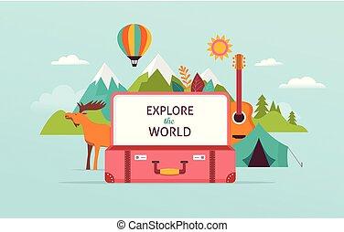 fogalom, idegenforgalom, utazás, ábra, vektor, tervezés, suitcase., nyílik