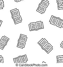 fogalom, illustration., ügy, motívum, jelkép, pattern., seamless, könyvtár, háttér., vektor, oktatás, nyitott könyv, ikon