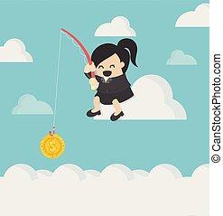 fogalom, illustration., ügy woman, fertőző, halászat, karikatúra, felhő