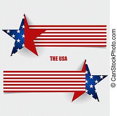 fogalom, illustration., lobogó, amerikai, vektor, zászlók, design.
