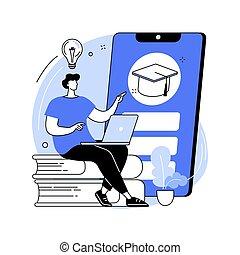 fogalom, illustration., mozgatható, elvont, vektor, tanulás