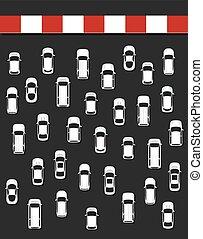 fogalom, illustration., tető, dzsem, forgalom, kilátás