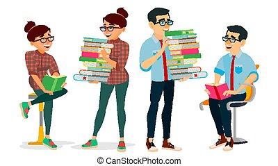 fogalom, izbogis, elméleti, oktatás, reading., nő, tudás, maga, elszigetelt, könyv, vector., lakás, irodalom, encyclopedia., ábra, club., karikatúra, ember, kinyerés, egyetem, concept., könyvtár