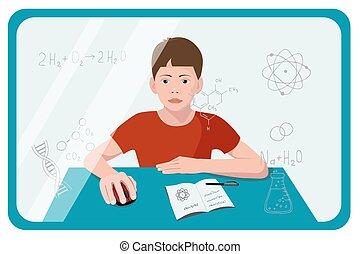 fogalom, izbogis, lakás, training., kémia, egyén, gyermek, távolság, lát, learning., vektor, egymásra kölcsönösen ható, online, ellenző, diák, elsajátít, lesson., illustration.