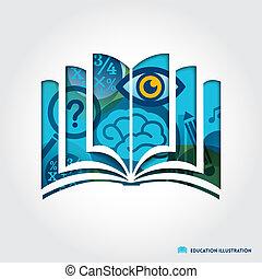 fogalom, jelkép, ábra, könyv, oktatás, nyílik