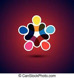 fogalom, &, -, közösség, egység, vektor, gra, barátság, szolidaritás