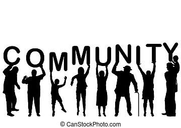 fogalom, közösség, körvonal, emberek