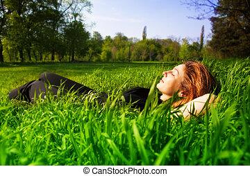 fogalom, külső, bágyasztó, -, gondtalan, nő, fű
