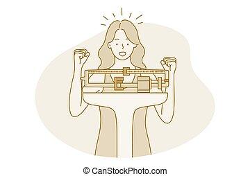 fogalom, karcsú, súly, diéta, vesztes