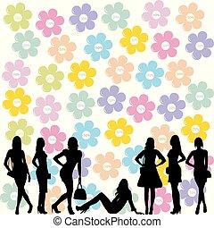fogalom, kiárusítás, körvonal, mód, fekete, nők