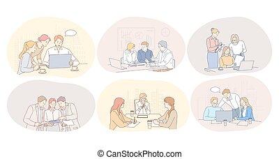fogalom, kommunikáció, együttműködés, gyűlés, csapatmunka, vita