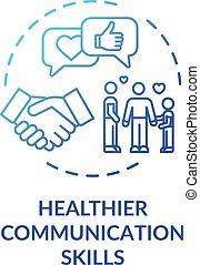 fogalom, kommunikáció icon, egészségesebb, szakértelem
