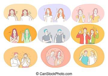 fogalom, kommunikáció, nyelv, aláír, gesztikulál, kézbesít