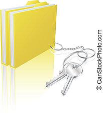 fogalom, kulcsok, számítógép, reszelő, biztonság, dokumentum