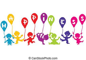 fogalom, léggömb, gyerekek, boldogság, gyermekkor