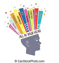 fogalom, lélektan, gondolkodó, pozitív, ábra, érzések, optimista