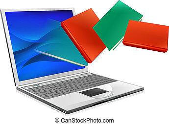 fogalom, laptop, ebook, előjegyez, oktatás, vagy
