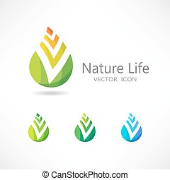 fogalom, levél növényen, set., vektor, logo., ikon