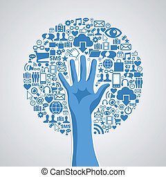 fogalom, média, fa, kéz, társadalmi, hálózat