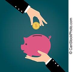 fogalom, megmentés, ügy, part, beruházó, pénz, kéz, feltétel, falánk, érme