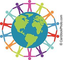 fogalom, mindenfelé, emberek, utazás, béke, vektor, vagy, világ