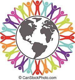 fogalom, mindenfelé, színes, emberek, utazás, béke, ábra, vektor, vagy, világ