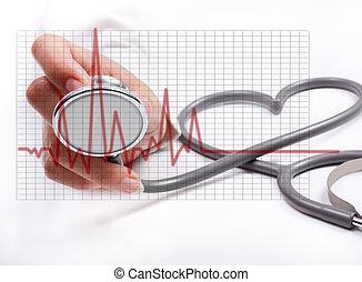 fogalom, női, stethoscope;, kéz, egészség, birtok, törődik