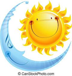 fogalom, nap, hold, betűk, éjszaka, karikatúra, nap