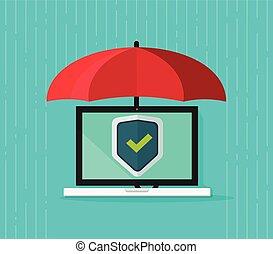 fogalom, pajzs, laptop computer, oltalmaz, esernyő, értesülés, malware, transzparens, számítógép, vektor, alatt, biztonság, lakás, magánélet, digitális, antivirus, ellenző, oltalom, adatok, karikatúra, biztonság